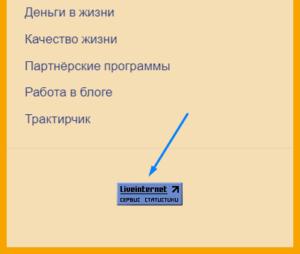 Счётчик Ливинтернет на сайте - виджет