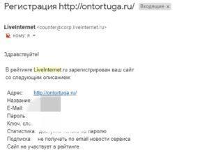 Письмо от сервиса LiveInternet
