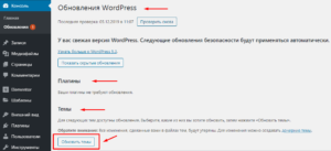 Обновления WordPress, плагинов и темы