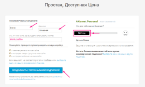 Akismet Anti-Spam регистрация и получение ключа плагина