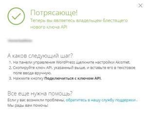 Akismet Anti-Spam получение ключа для активации плагина