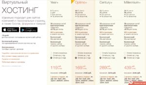 Таблица тарифов в хостинге Timeweb
