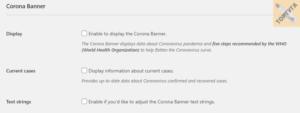 Corona Banner - настройка баннера в уведомлениях о мерах предосторожности при коронавирусе
